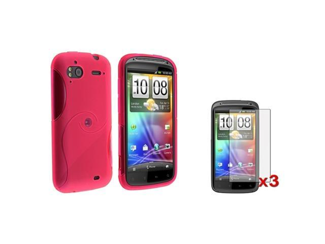 Insten Pink S Curve TPU Gel Phone Case Cover + 3 LCD Protector For HTC Sensation 4G
