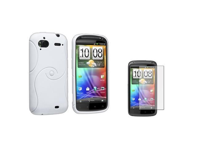 Insten White Hybrid TPU Gel Skin Case Cover + Guard For T-Mobile HTC Sensation 4G Z710E