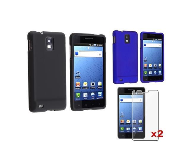 Insten Black + Blue Rubber Hard Case Cover + 2x Screen Film For Samsung Infuse SGH-i997 4G
