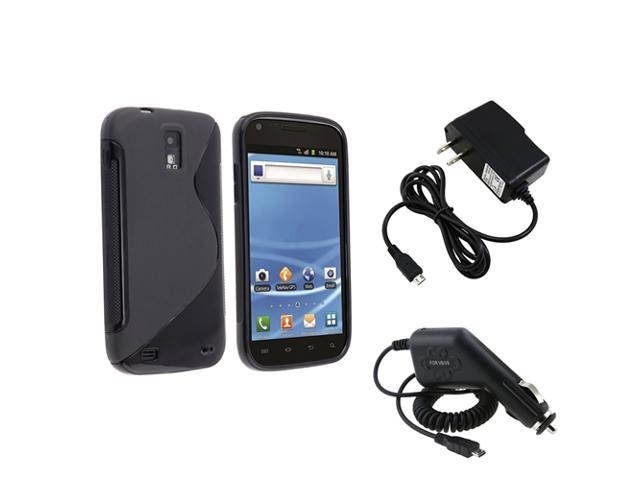 Insten Black Hybrid TPU Skin Case + Car + Wall Charger For Samsung Galaxy S2 T989 T-Mobile
