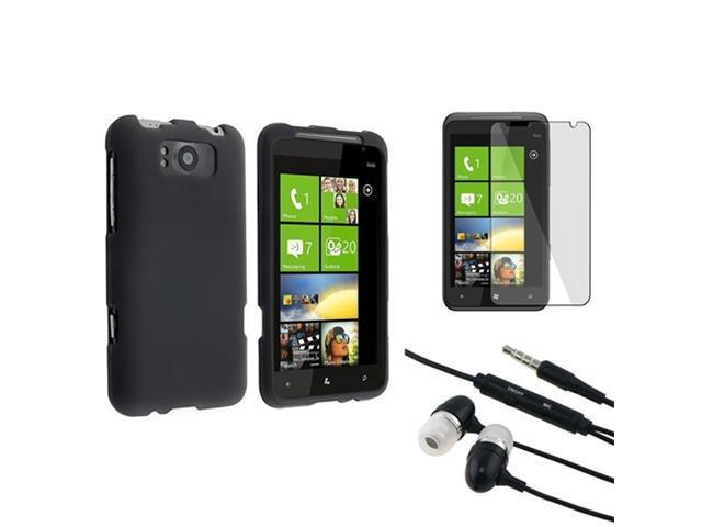 Insten Black Rubber Hard Case Cover + LCD SP Film + Headphone For AT&T HTC Titan 4G X310E