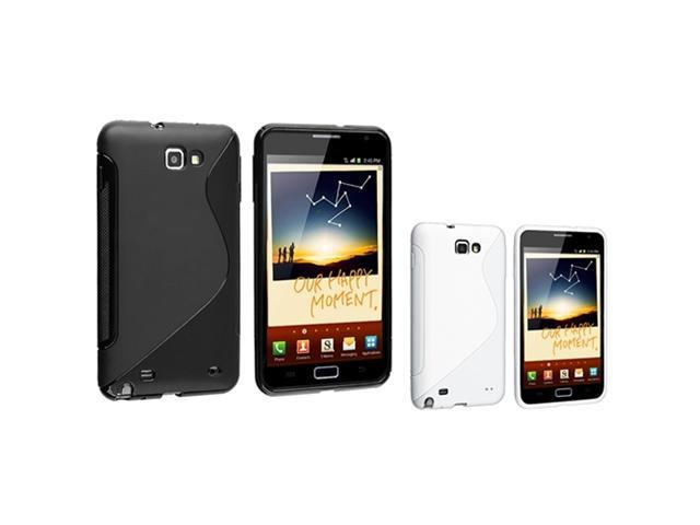 Insten 2in1 Black + White S-Line Curve TPU Soft Case Cover For Samsung Galaxy Note N7000