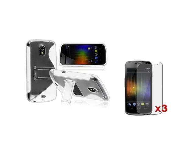 Insten White TPU Skin Case Cover + 3 Clear LCD Protector For Samsung Galaxy Nexus i9250