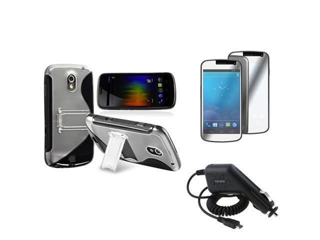 Insten Black TPU Case w/Stand + Car Charger + Mirror Guard For Samsung Galaxy Nexus i9250