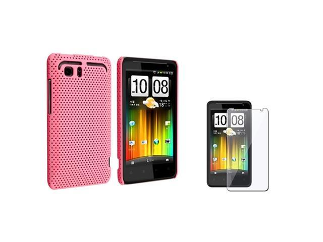 Insten Snap-On Pink Rubber Hard Skin Cover Case + Film For HTC Vivid Raider 4G Holiday