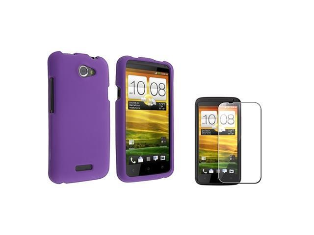 Insten Purple Rubberized Hard Clip-On Case Cover + LCD Guard For HTC One X/One XL