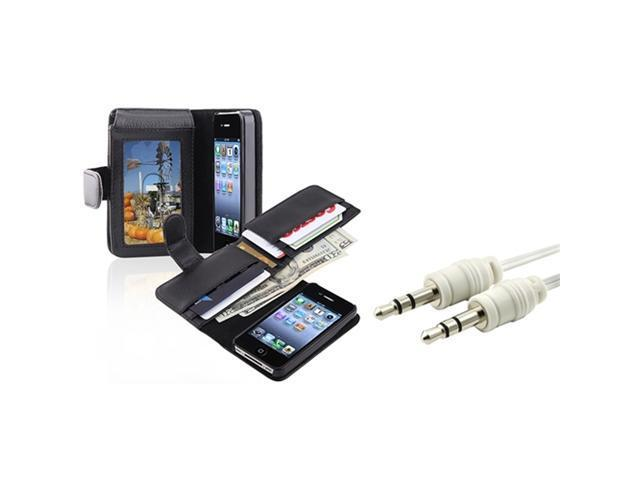 Insten Wallet w/Card Holder Leather Pouch Case + Audio Cable Cord For Apple iPhone 4 4G 4S