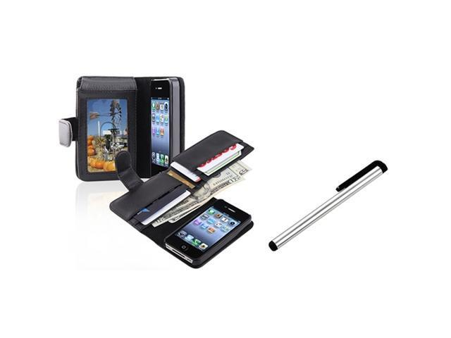 Insten Wallet Black Leather Case Skin Cover Pouch + S Stylus Pen For Apple iPhone 4 4th 4G 4S