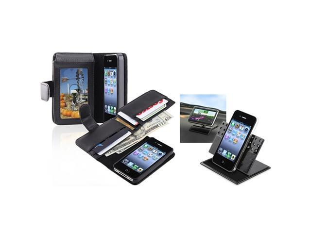 Insten Wallet Black Leather Skin Case Cover + Car Mount Holder For Apple iPhone 4 4th 4G Gen 4S
