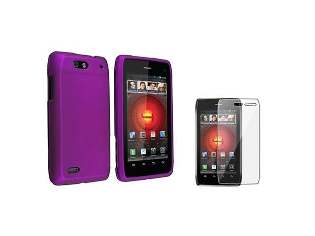 Insten Purple Rubberized Hard Case Cover + LCD Guard For Motorola Droid 4