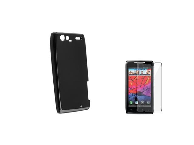 Insten Black Hard TPU Gel Skin Case Cover + LCD Guard Film For Motorola Droid RAZR MAXX