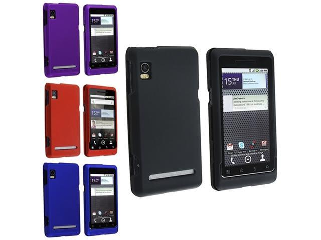 Insten 4 Black Red Blue Purple Rubber Hard Case Skin Cover For Motorola Droid 2 A955