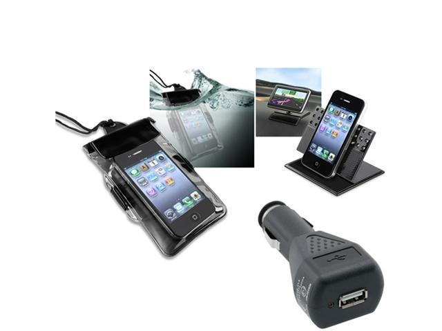 Insten Blk Waterproof Case + Charger + Holder For Motorola Droid Razr XT912 Maxx XT916