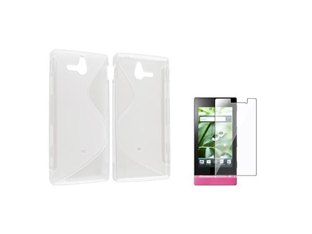 Insten For Sony Ericsson Xperia U ST25i S Gel TPU Case Cover + Film,Clear S Shape