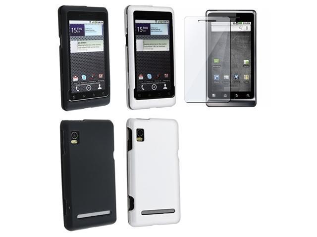 Insten For Motorola Droid 2 Global White + Black Rubber Hard Cover Case + LCD Protector