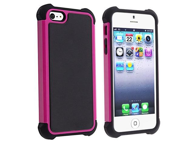 Insten Black Skin/Black Hard Hybrid Armor Case + Car Charger Adapter Compatible with Apple iPhone 5