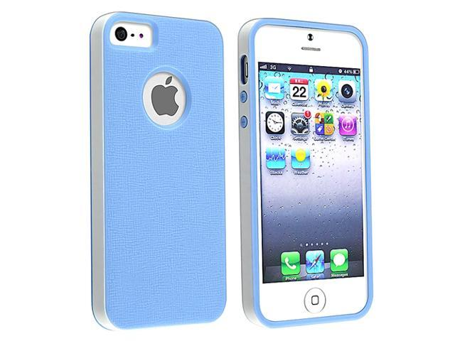 Insten Blue/ White Bumper TPU Rubber Skin Case + White Home/Wall Charger Adapter Compatible With Apple iPhone 5