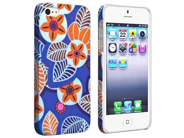 Insten Yellow Flower Design on Blue Rubberized Clip-on Hard Case + 2 LCD Kit Screen Protector Compatible With Apple iPhone 5 / 5s 964285