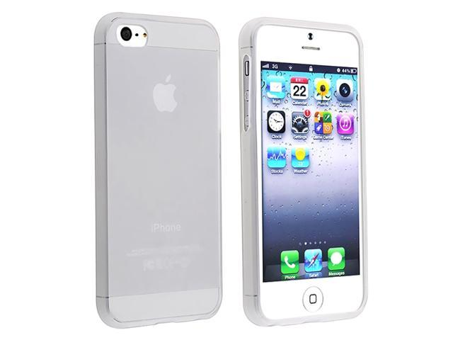 Insten White Clear Ultra Thin Rubber Gel Case + Silver Stylus Compatible with Apple iPhone 5 5G