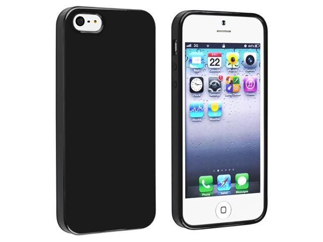 Insten Black Jelly TPU Case Skin + 2-Pack Anti-Glare Screen Guard for Apple iPhone 5 / 5S G 5th Gen
