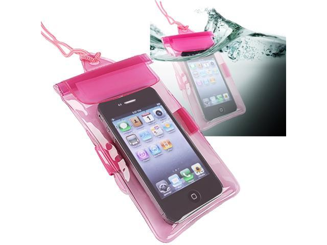 Insten Hot Pink Waterproof Bag w/Armband Case + Car Charger Compatible With iPhone 5 / 5s / 5c 4s 3GS 908886