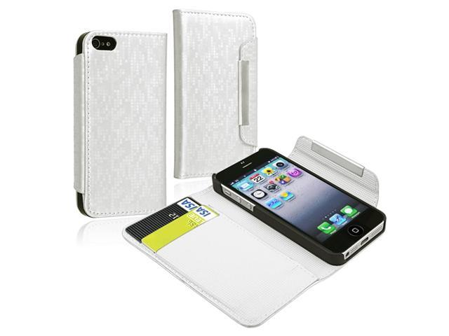 Insten 2-Pack White + Black Leather Pouch Wallet Case Cover Combo Compatible With iPhone 5 / 5s 909227