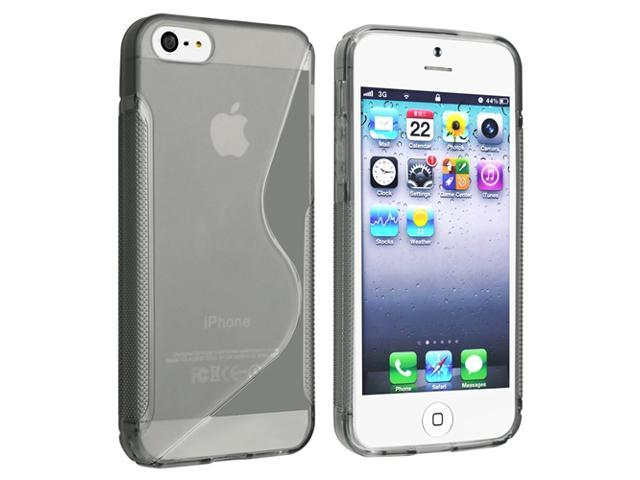 Insten Clear Smoke Ultra Thin S Shape TPU Case + LCD Film Case + Stylus Compatible with Apple iPhone 5 5G
