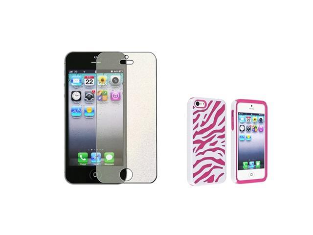 Insten Hot Pink / White Zebra Silicone / Hard plastic Case + Colorful Diamond LCD Cover compatible with Apple iPhone 5