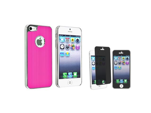 Insten Hot Pink Brushed Chrome Aluminum Rear Snap-on Case + Privacy Screen Cover compatible with Apple iPhone 5