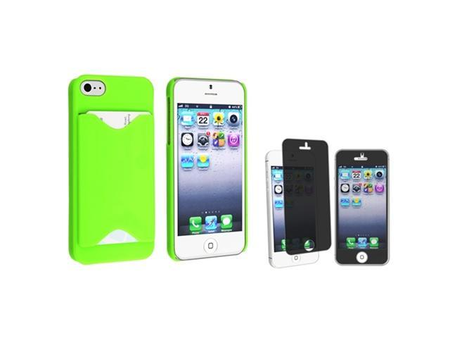 Insten Green with Card Holder Hard plastic Case + Privacy Screen Cover compatible with Apple iPhone 5