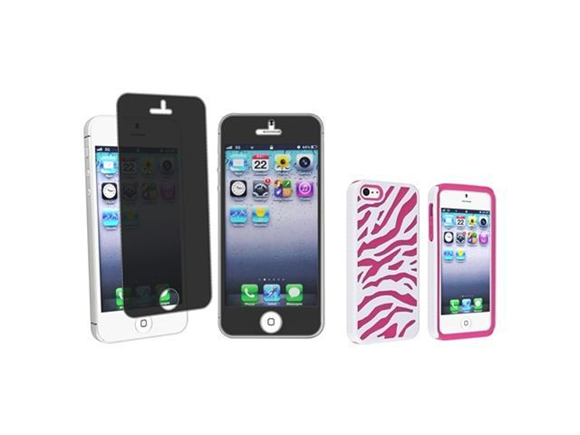 Insten Hot Pink / White Zebra Silicone / Hard plastic Case + Privacy Screen Cover compatible with Apple iPhone 5