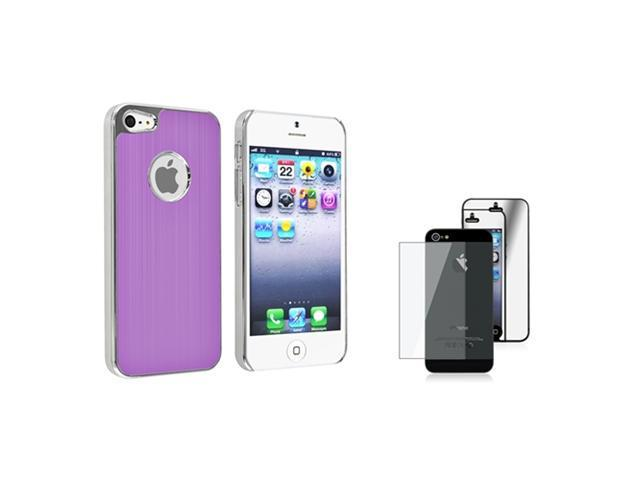 Insten Purple Brushed Chrome Aluminum Rear Snap-on Case + 2 LCD Kit Mirror Screen Protector compatible with Apple iPhone 5