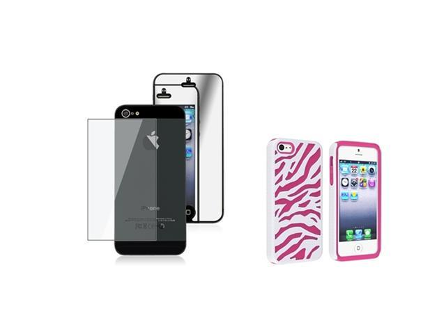 Insten Hot Pink / White Zebra Silicone / Hard plastic Case + 2 LCD Kit Mirror Screen Protector compatible with Apple iPhone 5