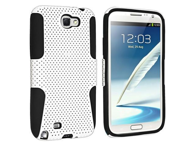 Insten Hybrid Black White Meshed Silicone / Hard plastic Case Cover + Privacy Screen Protector compatible with Samsung Galaxy Note II N7100