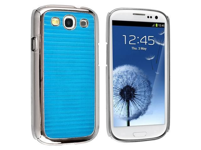 Insten Blue Stripe Aluminum Rear Hard plastic Case Cover + Privacy Screen Protector compatible with Samsung Galaxy SIII / S3