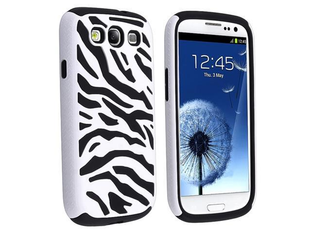 Insten Hybrid Black White Zebra Silicone / Plastic Case Cover + Privacy Screen Protector compatible with Samsung Galaxy SIII / S3