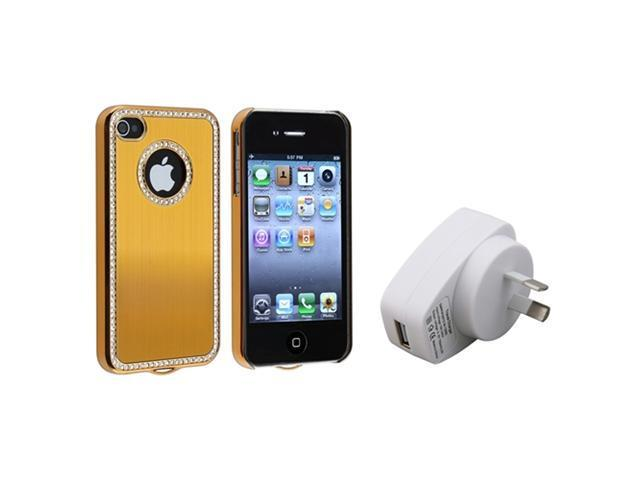 Insten Bling Diamond Gold Back Hard Case Cover + Wall Charger Compatible With iPhone 4/4S 4G