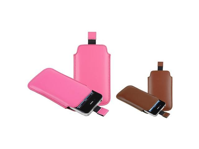 Insten Brown + Hot Pink Pull Leather Pouch Cover Case Compatible With iPhone 4 4th G 4S
