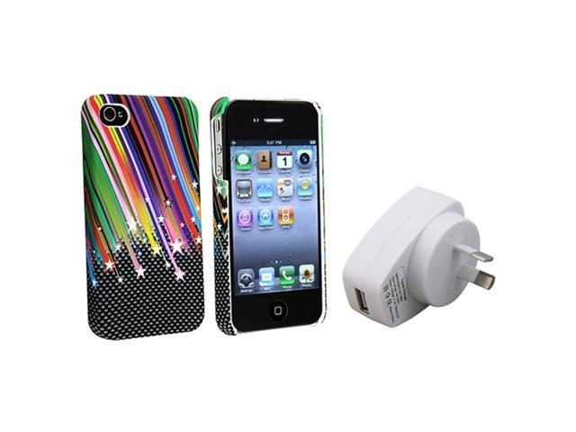 Insten Rainbow Star Hard Rubberized Case Cover + Home Charger Compatible With iPhone 4 4G 4S 4th
