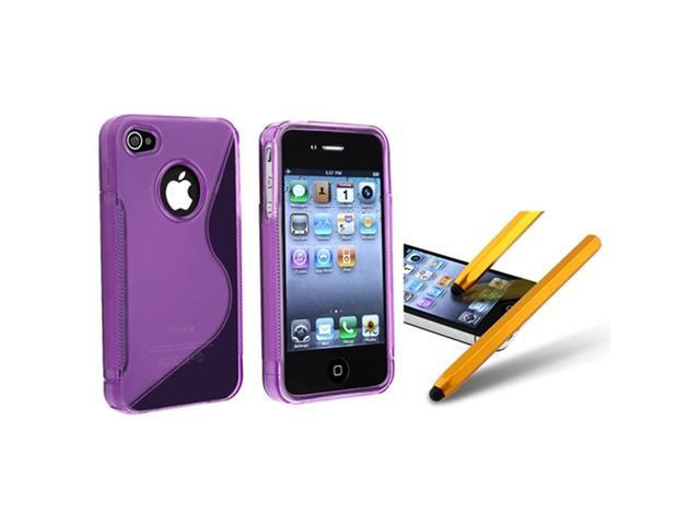 Insten Clear Purple S Shape TPU Cover Case + Yellow Metal Stylus Compatible With iPhone 4 4th G 4S