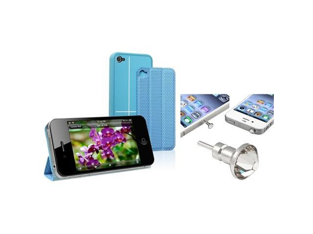 Insten Blue Magnetic Adsorption Smart Snap on Case + Diamond 3.5mm Headset Dust Cap Compatible With Apple iPhone 4/ 4S