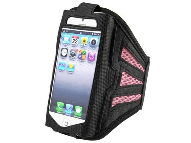 Insten Black/ Pink ArmBand + Clear Screen Protector for Apple iPhone 5 / 5C / 5S