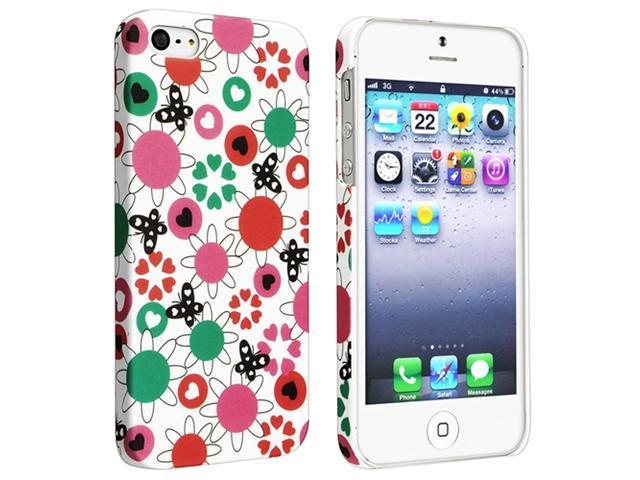 Insten Flower Rear Style 62 Clip-on Rubber Coated Case Cover + Anti-Glare Screen Protector Compatible With Apple iPhone 5 / 5s 929665