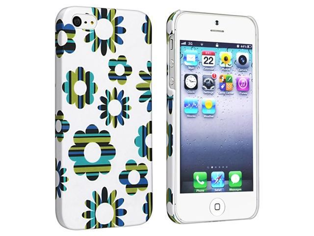 Insten Flower Rear Style 61 Clip-on Rubber Coated Case Cover + 2 LCD Kit Mirror Film Guard Compatible With Apple iPhone 5 / 5s 929663
