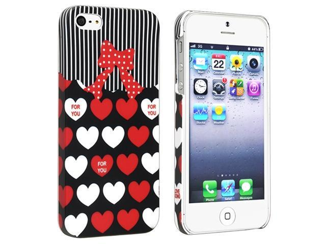 Insten Red/ White Heart Rear Snap-on Rubber Coated Case Cover + Privacy Screen Cover Compatible with Apple iPhone 5