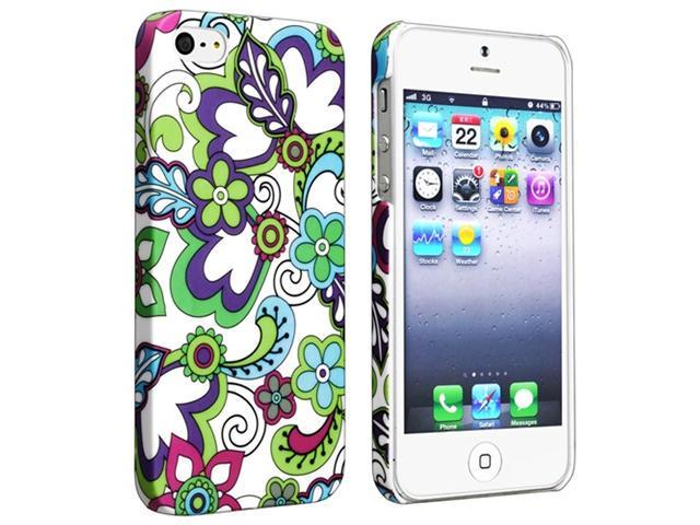 Insten Snap-on Rubber Coated Case Cover Compatible with Apple iPhone 5 / 5S, Flower Rear Style 24