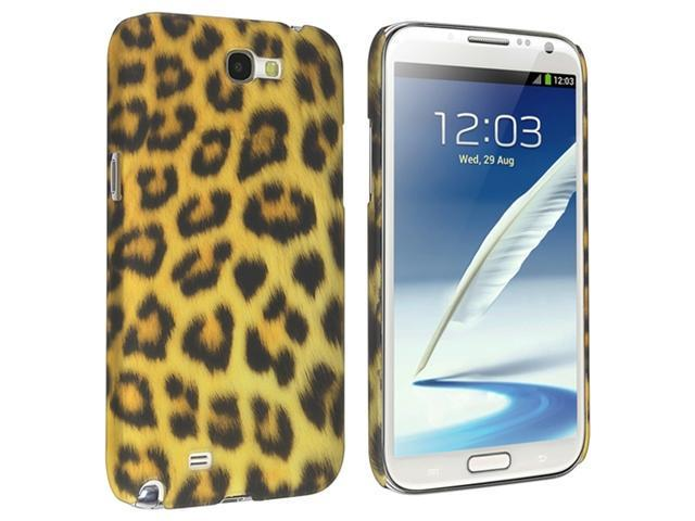 Insten Leopard Snap-on Rubber Coated Case Cover + Anti-Glare Screen Protector Compatible with Samsung Galaxy Note II N7100