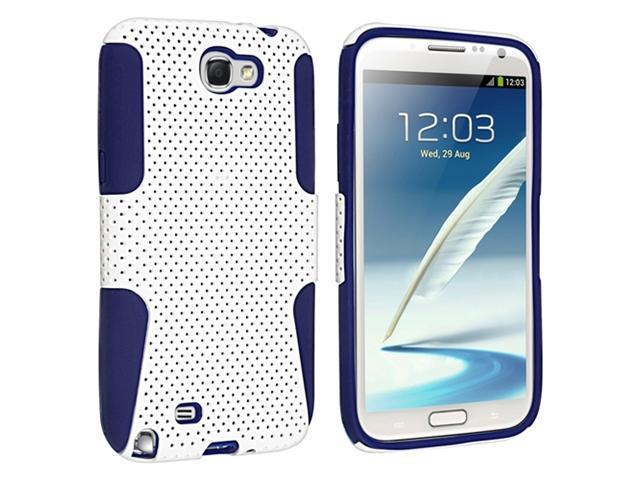 Insten Blue Skin / White Meshed Hard Hybrid Case Cover + Privacy Screen Protector Compatible with Samsung Galaxy Note II N7100