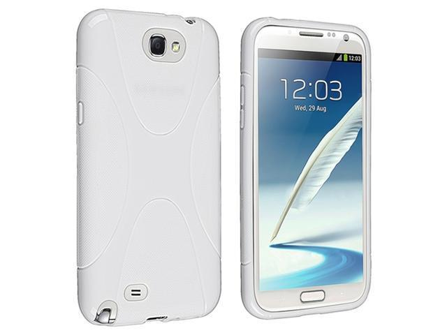 Insten White X Shape TPU Rubber Skin Case Cover + Mirror Screen Protector Compatible with Samsung Galaxy Note II N7100