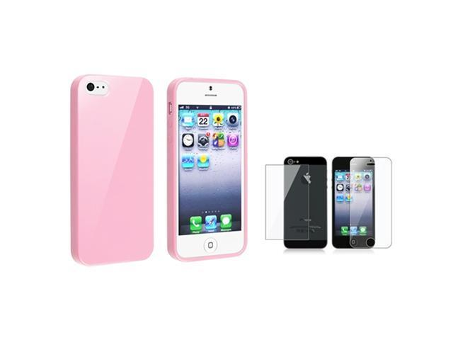 Insten Light Pink Jelly TPU Case + 2x Clear Film For iPhone 5 / 5s 907626